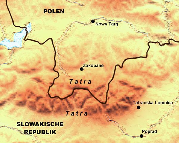 Landkarten - Tatra-Gebirge in Polen